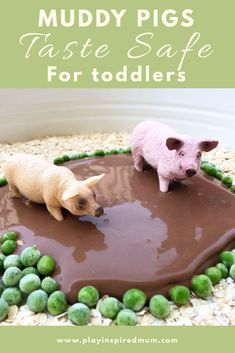 Muddy Pigs Small World Sensory Play - Play Inspired Mum Taste safe sensory play! Learn how to make this super amazing taste safe mud! Sensory Table, Sensory Toys, Sensory Activities, Toddler Activities, Sensory Play For Toddlers, Farm Sensory Bin, Tuff Tray, Small World Play, Messy Play