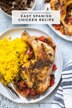 Skip those complicated recipes. This easy, Spanish chicken recipe features chicken legs braised with a few simple ingredients like tomato and citrus so you can enjoy the flavors of Spain without a ton of effort. Serve with a simple saffron rice and the optional chocolate picada sauce for the ultimate Spanish meal. Bake Chicken Leg Recipe, Chicken Recipes Dairy Free, Baked Chicken Legs, Chicken Leg Recipes, Food Dishes, Main Dishes, Spanish Chicken, Family Meals