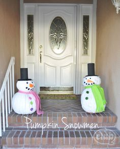 painted pumpkin snowmen makes great outdoor holiday decoration. kids will love building and decorating these snowmen