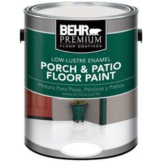 This BEHR Premium Ultra Pure White Low-Lustre Porch and Patio Floor Paint is ideal for porches, floors, decks, basements and patios. Porch And Patio Paint, Painted Concrete Porch, Painting Concrete, Stained Concrete, Concrete Patio, Behr, Exterior Paint, Interior And Exterior, Concrete Floor Coatings