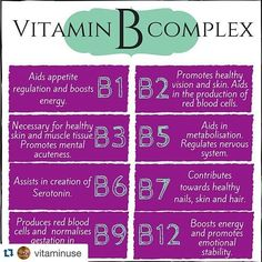 #Repost @vitaminuse with @repostapp. ・・・#fitness #health Referred to as vitamin B complex, the eight B vitamins — B1, B2, B3, B5, B6, B7, B9, B12 — play an important role in keeping our bodies running like well-oiled machines. These essential nutrients help convert our food into fuel, allowing us to stay energized throughout the day. While many of the following vitamins work in tandem, each has its own specific benefits — from promoting healthy skin and hair to preventing memory loss or…