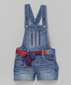 Look at this Squeeze Medium Stone Americana Tie-Dye Sash Shortalls - Girls on #zulily today!