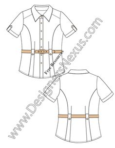 V25 Cuff Sleeve Belted Blouse Flat Fashion Sketch Top -FREE Adobe Illustrator & PNG download at www.designersnexus,com! #fashionflats #technicalflats #CADflats #fashionsketch #fashiondrawing #flatsketches #fashiondesign #fashiontemplates