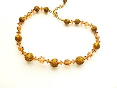 Art Deco Czech Faceted Glass Necklace Brass by estatechicago, $45.00