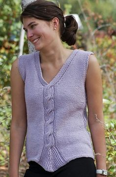 Free knitting pattern for Twisted Rib Cable Tank