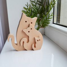 Wooden Puzzle cats waldorf cat - waldorf wood animals - Educational toys - Puzzle Toy - Kids gifts - Animal puzzle - Wooden cats - cats family - Fathers Day gift ---------------------------------------------------------------------------------------------------- Waldorf Puzzle cats -