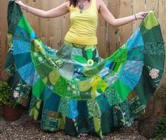 a-line cut panels for a gather-less patchwork gypsy skirt