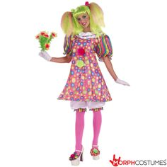 Shop Tickles the Clown women's costume online today at Heaven Costumes. These colourful women's clown costumes will look cute at your next circus themed fancy dress party. All sexy clown costumes are in stock now! Clown Halloween Costumes, Circus Costume, Fancy Costumes, Adult Halloween, Adult Costumes, Costumes For Women, Circus Clown, Halloween Party, Circus Party