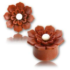 Pair-WOOD-Mother-PEARL-FLOWER-GAUGES-Plugs-Tunnels-Wooden-Carved-White-Organic