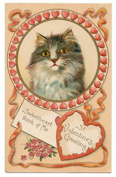 Maurice Boulanger Valentine - Cat in Heart Circle Frame