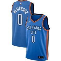 Nike Men's Oklahoma City Thunder Russell Westbrook #0 Blue Dri-FIT Swingman Jersey, Size: Medium
