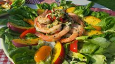 Salade de crevettes marinées au gingembre Shrimp, Meat, Marinated Shrimp, Seafood, Salads, Wedding Ring, Recipes