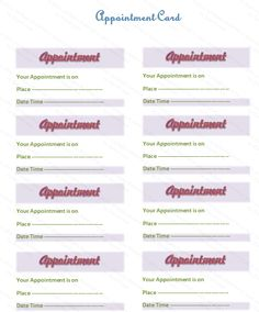 appointment card template free