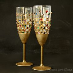Wedding Glasses Champagne Glasses Champagne by NevenaArtGlass
