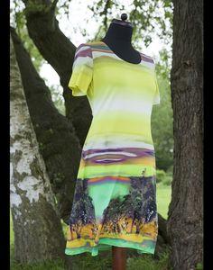 Stretchkleider - Jerseykleid Landscape,gelb, Stretch, Viskose, - ein Designerstück von jerino-mode-fuer-mich bei DaWanda
