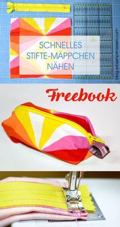 Näh-Freebook, Gratisanleitung: Schnelles Stiftetäschchen / Schlampermäppchen / Stifte-Etui nähen