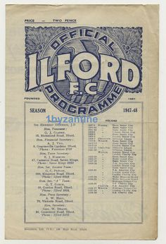 1948 Ilford fc v Hounslow Town non League Football Programme amateur cup London Ilford Fc, Football Program, Football Stadiums, Programming, June, Seasons, London, Ebay, Seasons Of The Year