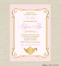Free Printable Tea Time Invitations | Tea Party Bridal Shower Invitation Printable