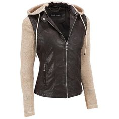 Black Rivet FauxLeather Jacket w/ Removable Knit Sleeves and Hood ($88) ❤ liked on Polyvore featuring outerwear, jackets, tops, coats, leather jackets, synthetic leather jacket, rivet jacket, hooded faux leather jacket, imitation leather jacket and slim fit jacket