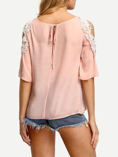 Shop Pink Cold Shoulder Crochet Trim Blouse online. SheIn offers Pink Cold Shoulder Crochet Trim Blouse & more to fit your fashionable needs.