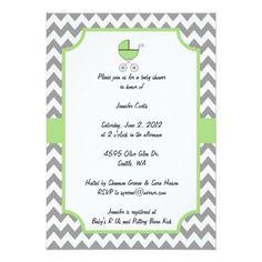 "Green Chevron Baby Shower Invitation 5"" X 7"" Invitation Card"