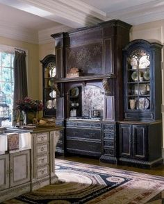 Habersham Venetian Hearth Kitchen Cabinet Set With Storage And Drawer Ideas  And Vintage Kitchen Island Design On Wooden Floor With Oriental Area Rug  Design.