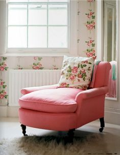 pink / leather / pillow / floral ornaments / wallpaper / bedroom / children room