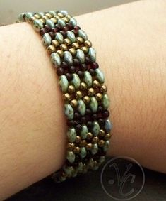 Tutorial Mojave RAW Bracelet Using Super Duos or Twin Beads | VCArtisanOriginals - Patterns on ArtFire