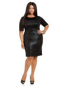 ELOQUII Plus Size Studio Pleated Faux Leather Dress | D, Products ...