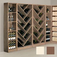 Design Weinregal mit diagonalen Fächern aus Eichenholz massiv - neben Lagerung von Weinflaschen auch für Magnum geeigent.