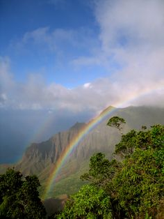 Tropical coast with Rainbow