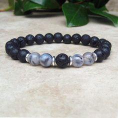 Black Dragon Vein Agate & Black Lava Bracelet, Yoga Energy Bracelet, Healing Meditation Bracelet, Tibetan Jewelry, Male or Female Mala