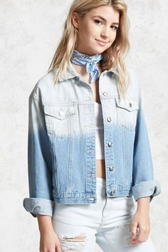 A denim jacket featuring a dip-dye wash, basic collar, button front closures, foldover button flap chest pockets, slanted front pockets, and long sleeves with button cuffs.