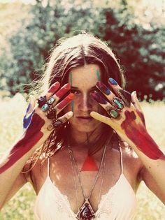 pintura nas mãos — maquiagem festival