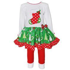 annloren girls christmas stocking drop waist dress and legging set red christmas dress - Christmas Clothes For Kids