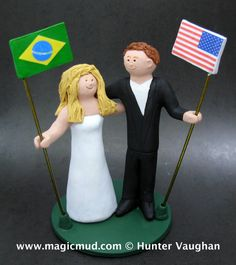 Brazilian Bride American Groom Wedding Cake Topper,International Marriage Wedding CakeTopper,Wedding CakeTopper with Country of Origin Flags  Customized Country of Origin wedding cake toppers, these were commissioned for International marriages and wedding ceremonies.... be inspired by these examples and let us know what details would make the most memorable international flag bride and groom wedding keepsake for you!  $235 #magicmud 1 800 231 9814 www.magicmud.com