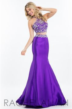 This high neck mermaid has a beaded top and open back, and it's at Rsvp Prom and Pageant, your source of the HOTTEST Prom and Pageant Dresses!
