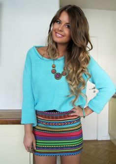 Tribal skirt and turquoise sweater