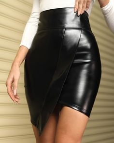 Asymmetrical Faux Leather Skirt Faux Leather Skirt, Leather Dresses, Leather Mini Skirts, Leather Outfits, Black Skirt Outfits, Plus Size Swimsuits, Dresses With Leggings, Womens Fashion Online, Rock