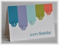 Mainly Flowers Independent Stampin' Up! Demonstrator Joanne Gelnar: New Colours Pretty Cards, Cute Cards, Diy Cards, Paint Chip Cards, Embossed Cards, Card Making Inspiration, Happy Birthday Cards, Card Birthday, Card Tags