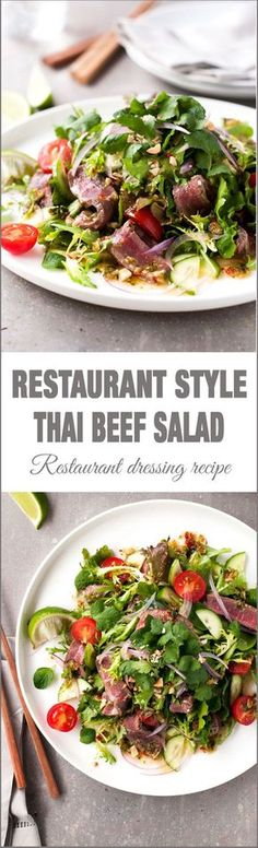 Thai Beef Salad (Restaurant Style) - one little change to the usual recipe to make a restaurant quality Thai Beef Salad (Healthy Recipes For One) Thai Recipes, Asian Recipes, Beef Recipes, Cooking Recipes, Healthy Recipes, Dishes Recipes, Healthy Breakfasts, Vegetable Recipes, Easy Recipes