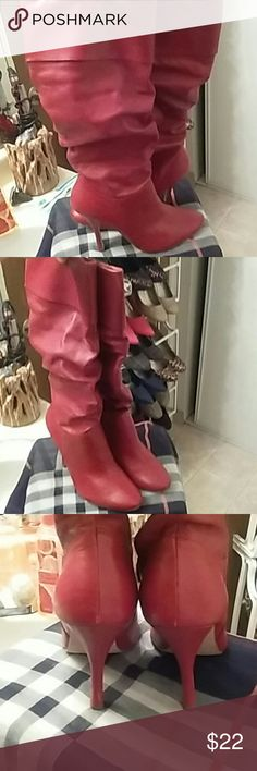 ✨FLASH SALE✨Red Boots Super cute all red boots..  4 1/4in heel.. 1/4 in hidden platform.. Pull on style.. Worn once or twice by my sister... Barely any signs of wear.. Really cute great condition Shoes Heeled Boots