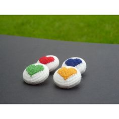 Heart stitched buttons on framestr.com Brooches, Charms, Cufflinks, Pendants, Buttons, Stitch, Beads, Beading, Full Stop