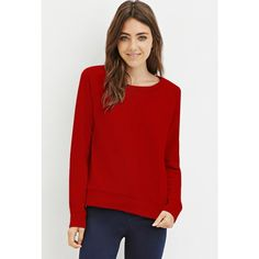 Forever 21 Women's  French Terry Raglan Sweater ($11) ❤ liked on Polyvore featuring tops, sweaters, long tops, long length sweaters, forever 21 sweaters, raglan top and raglan sweater