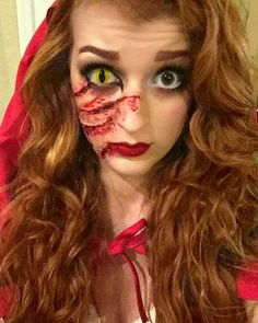 Red Riding Hood and Wolf Design for Creative DIY Halloween Makeup Ideas