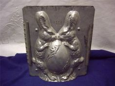 ANTIQUE CHOCOLATE MOLD EASTER BUNNIES & EGG by Eppelsheimer USA