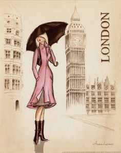 """""""Rendered like a high-fashion sketch, Andrea Laliberte's """"London"""" features a self-sufficient, elegant woman. """"London"""" is enriched by Laliberte's fashion design background and her international travels. The confident woman, a favorite Laliberte subject, is defined by her bright, stylish clothing which strongly contrasts with the neutral tones of Big Ben in the background."""""""