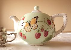 Hand Painted Teapot with Butterflies and Raspberries!