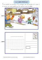 Ecrire une carte postale (ce1) French Teacher, Teaching French, French Worksheets, Core French, French Classroom, French Resources, French Immersion, Learning To Write, Writing Activities