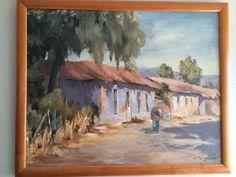 Caminante en el Patahual. Putaendo, Chile, V Región. Óleo de Myriam Acevedo.